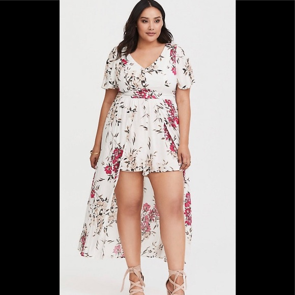 4820f362c509 torrid Dresses | White Floral Challis Overskirt Romper | Poshmark